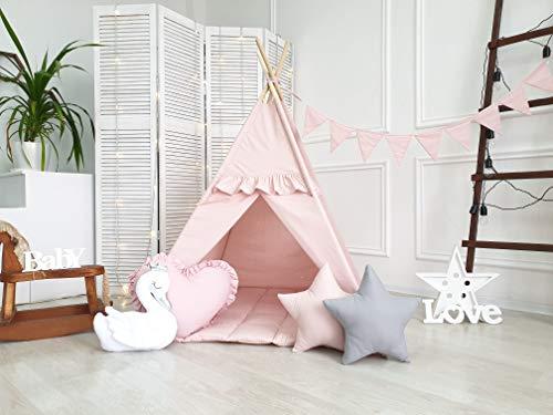 BabyCo Teepee 100% Cotton Play Tent Teepee Tent Wigwam Playhouse Organic Cotton Teepee Tipi Indian Teepee Monochrome Stripes Teepee Tee pee