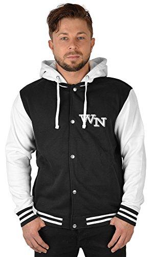 SH-Topshop - Stefan Hohenwarter Herren College Jacke mit persönlichen Initialen auf linker Brust - Baseball Jacke mit Kapuze - Farbe: schwarz