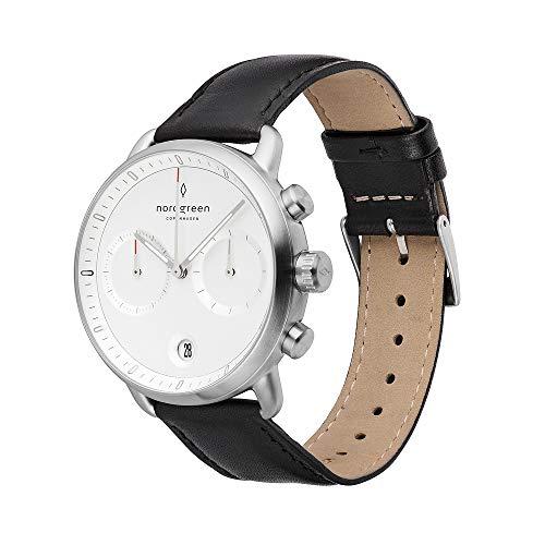 Nordgreen Pioneer skandinavische Herrenuhr in Silber mit Weißem Ziffernblatt und austauschbarem 42mm Leder Armband Schwarz 14044