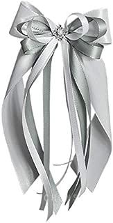 10 Autoschleifen Hochzeit SCH0110 weiß silber grau
