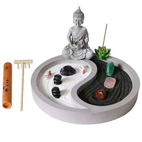 Mini Zen Garden kit for Desk - yin yang Crystal Sand Garden - with Zen rake Buddha Statue Healing...