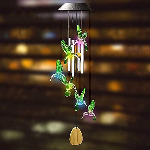LLLKKK Lámpara LED solar con cambio de color y luz nocturna con forma de colibrí/mariposa, resistente al viento, lámpara colgante para el jardín de casa, vacaciones, decoración (A)