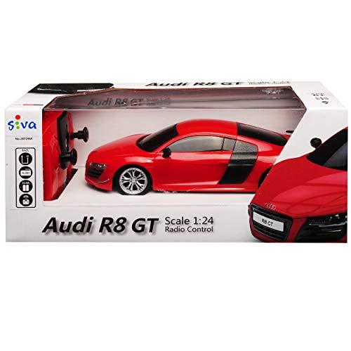 Siva A-U-D-I R8 GT Coupe Rot 2,4 GHz RC Funkauto mit Beleuchtung und Akkupack 1/24 Modell Auto mit individiuellem Wunschkennzeichen