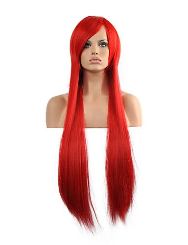 JIAYY Hannah Anafeloz Longue Perruque Synthétique Droite Perruque Cosplay Rouge Rouge