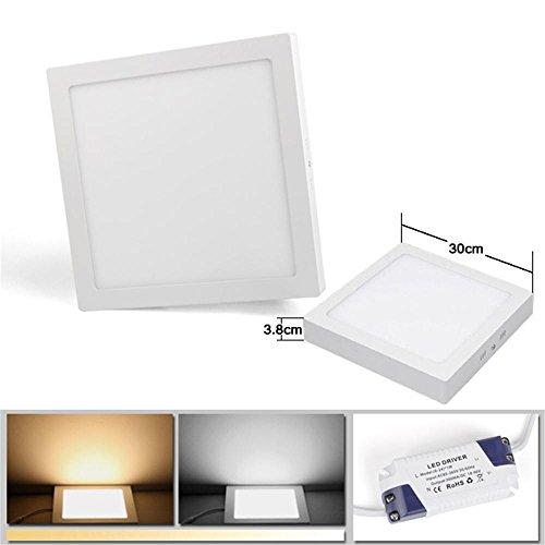 24W LED-Paneelver Lichting Warmwit (3000 K) 1800 Lumen, 3 Jaar Garantie, 300mm LED-paneelverlichting Hoekige Plafondlamp Opbouwinstallatie, Vervangt 150W TL-buis, Plafondlamp, LED-Paneellamp, Inbouwspot.