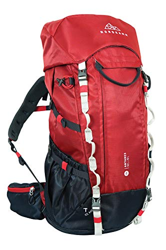 NORDKAMM - Reiserucksack, Backpacker-Rucksack, Trekking-Rucksack, 40l, 50l, 60l, 70l, 80l, 90l, Damen u. Herren, Top- u. Frontloader, verstellbar (Rot, 50l)