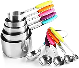 Mumoo Bear 10 Piece Measuring Cups and Spoons Set in Stainless Steel Cooking & Baking