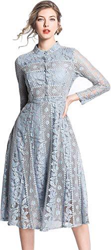 Damen Kleid mit Spitze A Linie 3/4 Arm oder Langarm Vintage Party Abendkleid,Blau-6, 34
