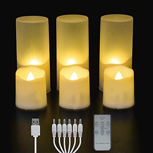 6 wiederaufladbare flammenlose Teelichter mit Fernbedienung und Timer, hell flackernde elektrische Teelichter Kerzen für Outdoor, Weihnachten, Hochzeit, Urlaubsdekoration.