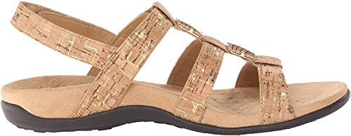 Vionic Women's Women's Rest Amber Backstrap Sandal - Ladies Adjustable Walking Sandals with Concealed Orthotic Arch Support Gold Cork 9 W US