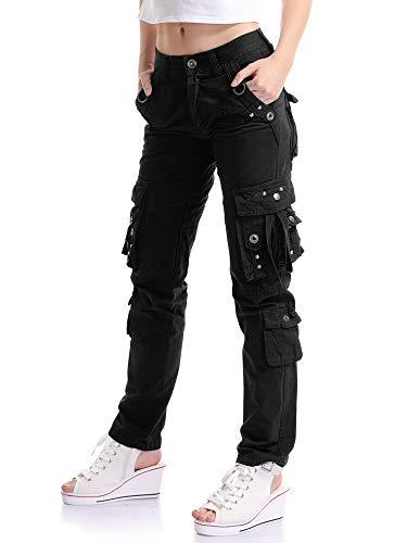 Ochenta - Pantaloni cargo da donna, con 8 tasche, pantaloni militari, divisa da lavoro Nero (42 IT) 29W/38 anca