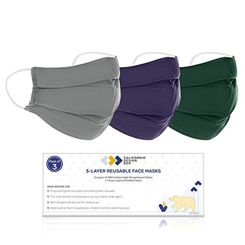 100% Cotton Face Mask Reusable (L/XL) 3 Color Set, Washable & Breathable, Densely Woven Fabric, 3 Layer Protection, Natural Cloth Mask with Elastic Ear Loops, Fashion Cover For Home, Office & Outdoors