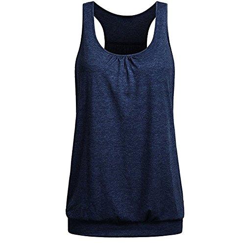 NPRADLA Tanktop Damen Sommer Lose Bluse Ärmellose Racerback Workout Rundkragen Shirt Einfarbig Elegante