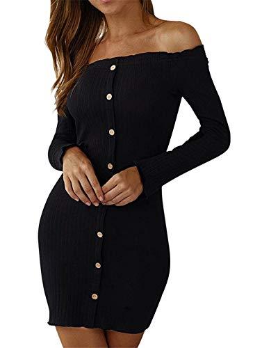 ASKSA Damen Pullover Kleider Schulterfrei Langarm Stricken Minikleid Eng Strickkleid Elegant Wickelkleid(Schwarz,S)