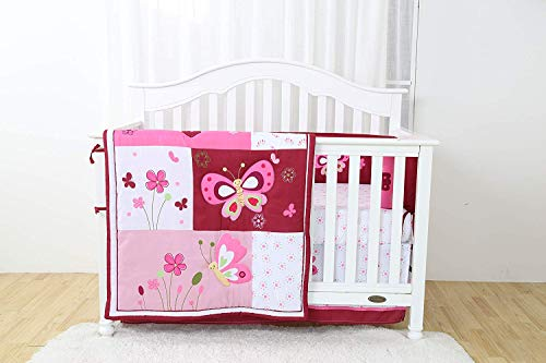 Linens And More Modern Luxury Quality 4 Piece Crib Bedding Sets for Girls and Boys, Set Includes, Fitted Sheet, Crib Bumper, Crib Skirt and Reversible Quilt (Pink)