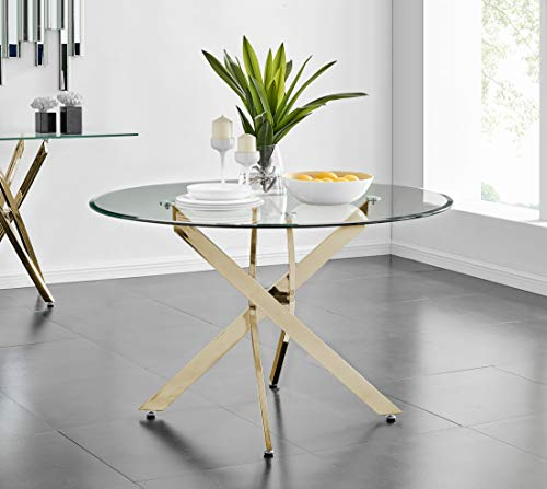 Furniturebox UK Novara Modern Large Round Gold Metal And Clear Glass Dining Table And 4/6 Stylish Milan Gold Dining Chairs Set (Dining Table Only, No Chairs)