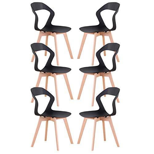Injoy Life - Juego de 6 sillas de cocina modernas de plástico con patas de madera maciza de haya, sillas de escritorio para dormitorio, color negro
