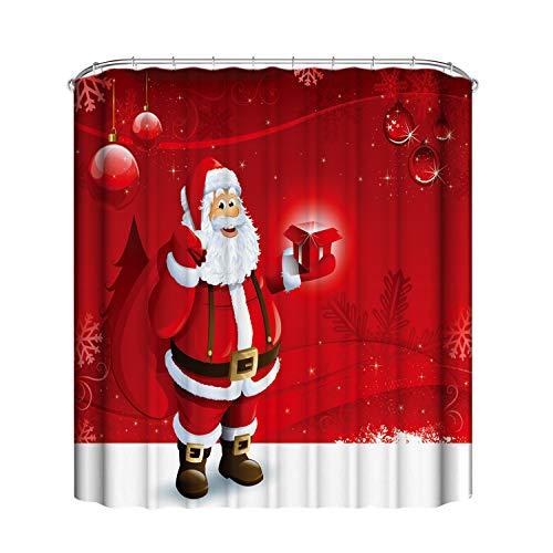Petalum Weihnachten WC Deko Badezimmer Sitze Set Christma Toilette Sitzbezug Toilettensitz Abdeckung Deckel Teppich Bodenmatte Duschvorhang Weihnachtsmann Elf WC-Sitzbezüge Toilettensitzbezug