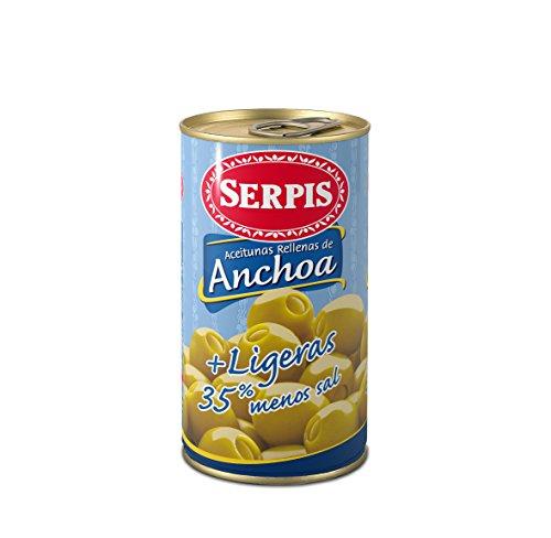 Serpis, Oliven gefüllt mit Anchovis, Light, 350 g
