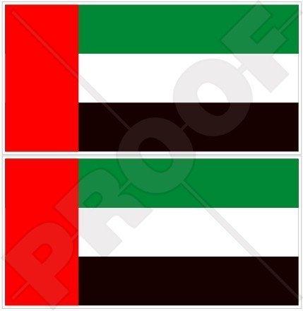 VEREINIGTE ARABISCHE EMIRATE Flagge, Fahne VAE Dubai, Abu Dhabi 75mm Auto & Motorrad Aufkleber, x2 Vinyl Stickers
