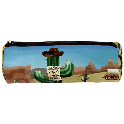 Wild West - Estuche para lápices de cactus con cremallera, organizador de monedas, bolsa de papelería, bolsa de maquillaje para mujeres, adolescentes, niñas, niños y niños