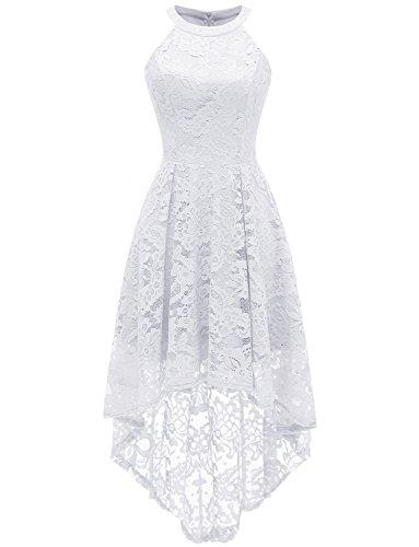 Dressystar Vokuhila Kleid Cocktail Spitzenkleid Halter Sexy Schulterfrei Ballkleid Weiß XS