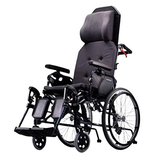 SPAQG Opvouwbare rolstoel met opklapbare beensteunen en openbare armleuningen, 17,7 inch zitting, rolstoel met gevoerde hoofdsteun voor extra comfort