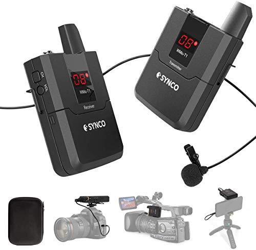 Micro Cravate sans Fil système SYNCO Wmic T1 UHF Microphone avec émetteur récepteur 16 canaux, pour caméra Caméscope Smartphone iPhone Samsung(T1=TX+RX)