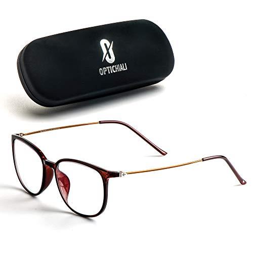 Optichiali Blue Light Blocking Glasses - Women Computer Glasses - Retro, Nerd Square Eyeglasses Frame - 400 UV, Anti-Glare, Anti- Scratch, Comfortable Bridge - Protect Your Eyes (Brown)
