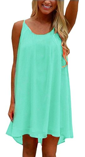 ReachMe Womens Plus Size Chiffon Bathing Suit Cover ups Spaghetti Strap Beach Cover Up Tank Top(Mint 3XL)