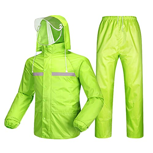 YQQMC Trajes de Lluvia para Hombres Mujeres Impermeables, Capas de Lluvia Transpirables con Tira reflexiva, Chaqueta de Lluvia Duradera Pantalones Reutilizable (Color : Green, Size : XL)