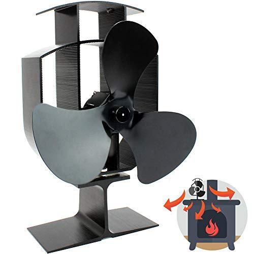 Kaminventilator mit 4 Flügeln, lautloser Betrieb Holzofenventilator, umweltfreundlicher Kaminofen, elektrischer Kaminofenventilator für Holz- / Kaminofen / Kaminofen, effiziente Wärmeverteilung