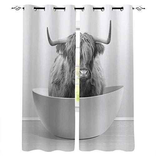 LWXBJX Cortinas Opacas de Salón Moderno Termicas - Blanco animal tina vaca - Impresión 3D Aislantes de Frío y Calor 90% Opacas Cortinas - 200 x 214 cm - Salon Cocina Habitacion Niño Moderna Decorativa