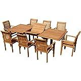 ASS Teak Set: Gartengarnitur Tobago Ausziehtisch 180-240cm x 100cm mit 8 Alpen Sessel Holz Serie JAV