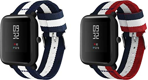 Correas para Relojes Nylon Compatible con Galaxy Watch 42mm / Watch 3 41mm / Active, Correa de Reloj de NATO para Mujer y Hombre con Hebilla de Acero Inoxidable (20mm, 2PCS H)