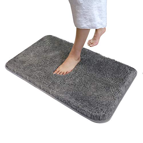 Soft Plush Bathroom Rug Bath Mat 20' x 32',Non-Slip Microfiber Fluffy Shaggy Water Absorbent Bath Rug Carpet,Machine Washable Rectangular Runner Area Rug Mats for Floor/Kitchen,Lava Grey