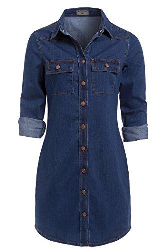 SS7 Neuf Rétro Bleu Denim Robe Chemise Sizes 6-16 - Jean Vintage, 38