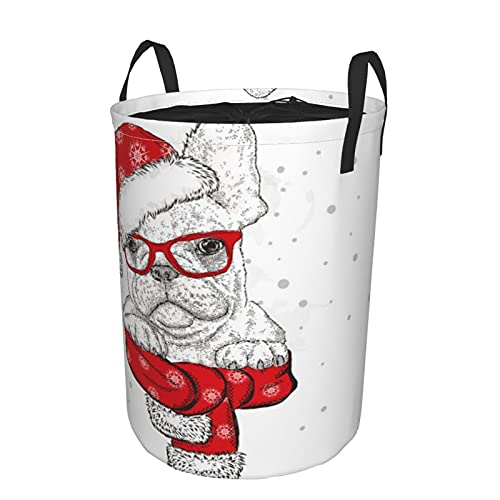 Storage Basket,French Bulldog Scarf Christmas Hat Sunglasses Trend Animals Hipster Wildlife Funny Animal Holidays,Collapsible Large Laundry Hamper with Handles 21.6'X16.5'