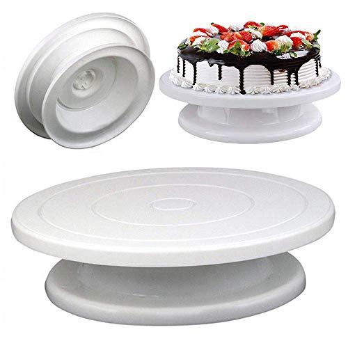 Burning desire Mesa giratoria para tartas de 360 grados, giratoria y giratoria para decoración de tartas, soporte redondo para postre (28 cm)