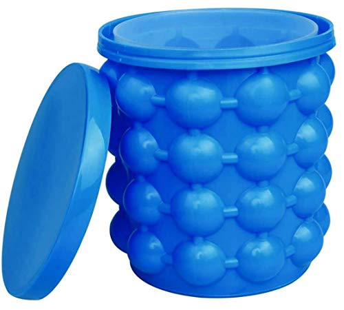 DuoleMY The Original Ice Cube Maker Holds up to 40 Cubes Silicone Bucket With Lid Use Indoors Outdoors Bottled Beverage Cooler Dishwasher Safe