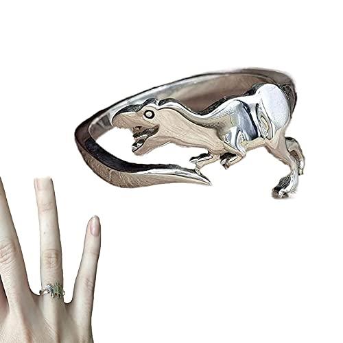 XCZWG Anillo De Dinosaurio - Anillo Personalizado, Anillo Abierto Ajustable, Anillos úNicos De Moda De Dinosaurio Lindo, Familiares, Amigos, Amantes El Regalo B