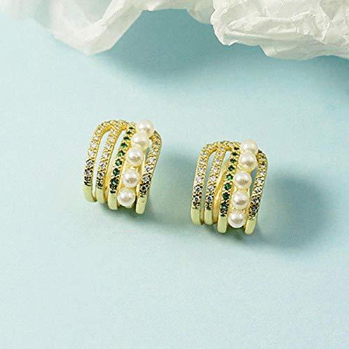 Pendientes Mujer Pendientes De Clip De Plata De Ley 925 para Mujer, Joyería, Circonita Brillante, Perla Verde, Pendiente De Orejas Sin Perforaciones, Oro