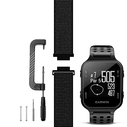 C2D JOY Compatible with Garmin Approach S20 Watch Band Replacement (Pins and Custom Pin Removal Tool) Sport Mesh Strap for Golf Watchband - 10#, M