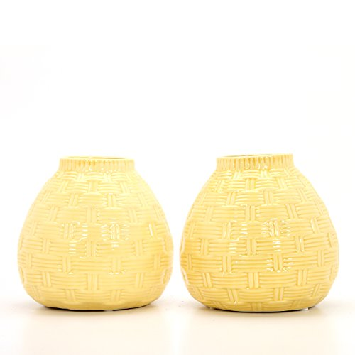 """Hosley Set of 2 Ceramic Yellow Vases - 6.5"""" High. Ideal Gift for Home, Weddings, Party, Spa, Meditation, Home Office, Reiki, Meditation O9"""