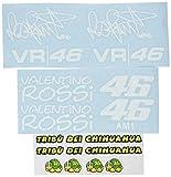 Ecoshirt 6Y-RWLT-SHWV Pegatinas Am1 Tribu Chihuahua Rossi Vr46 Stickers Aufkleber Decals Autocollants Adesivi The Doctor, Blanco