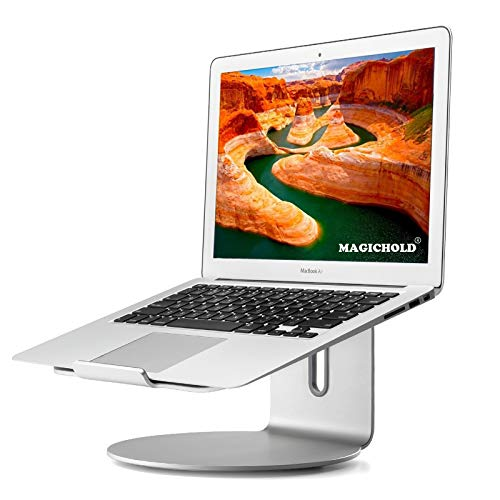 MagicHold Ergonomic Design Laptop/Compatible with MacBook(11-17 inch) Aluminum Stand/Mount with Bottom swivels/Turn (Silver)