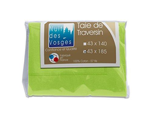 Nuit des Vosges 2097726 Cotoval Taie de Traversin Uni Coton Vert Granny 43 x 185 cm