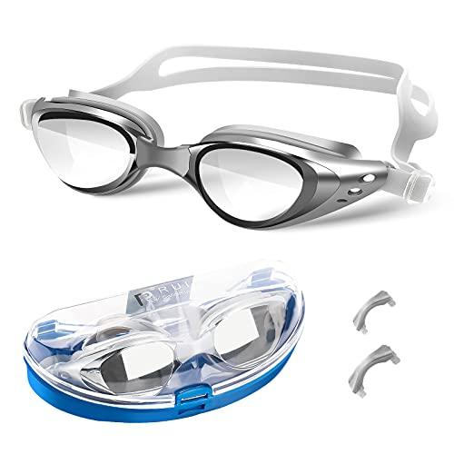Schwimmbrille UV-Schutz Anti Nebel Kein Auslaufen Komfort Profi Schwimmbrillen mit Verstellbarer Silikonband Deutlich Anblick für Erwachsene Herren Damen und Kinder mit Aufbewahrungsbox Grau