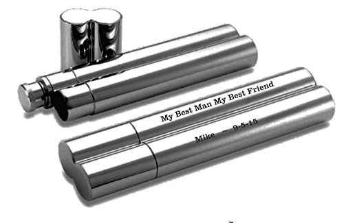 Personalized Stainless Steel Polished Silver Double Sided Cigar Holder & Flask Engraved Free - Ships from USA