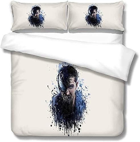 WMSYJR Venom Juego de ropa de cama de 3 piezas,microfibra,1 funda nórdica para dormitorio,habitación de invitados,habitación infantil (Venom2,135x200cm+50x75cmx2)
